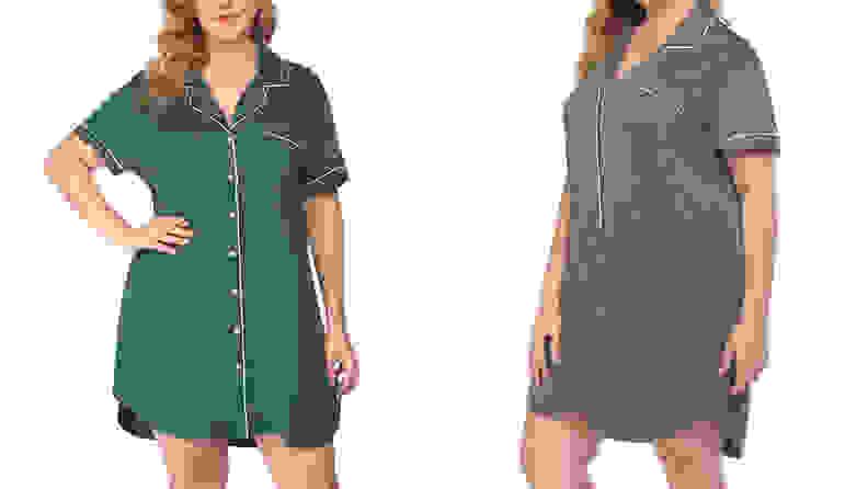 Two women wearing nightgowns