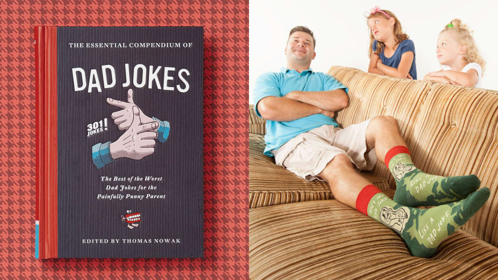 Dad jokes book / dad sitting on the couch with funny socks