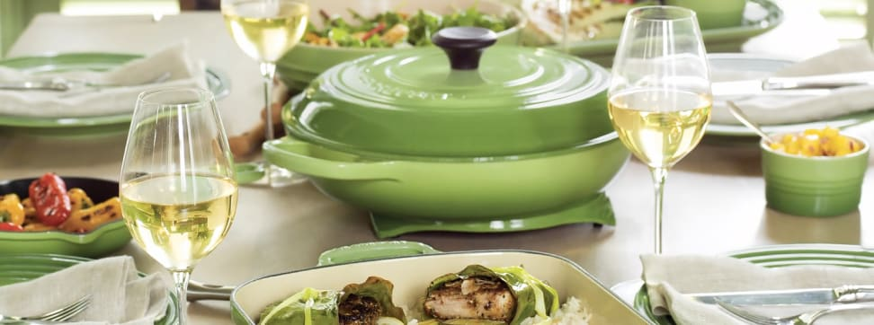 """Le Creuset's new """"Palm"""" green finish"""