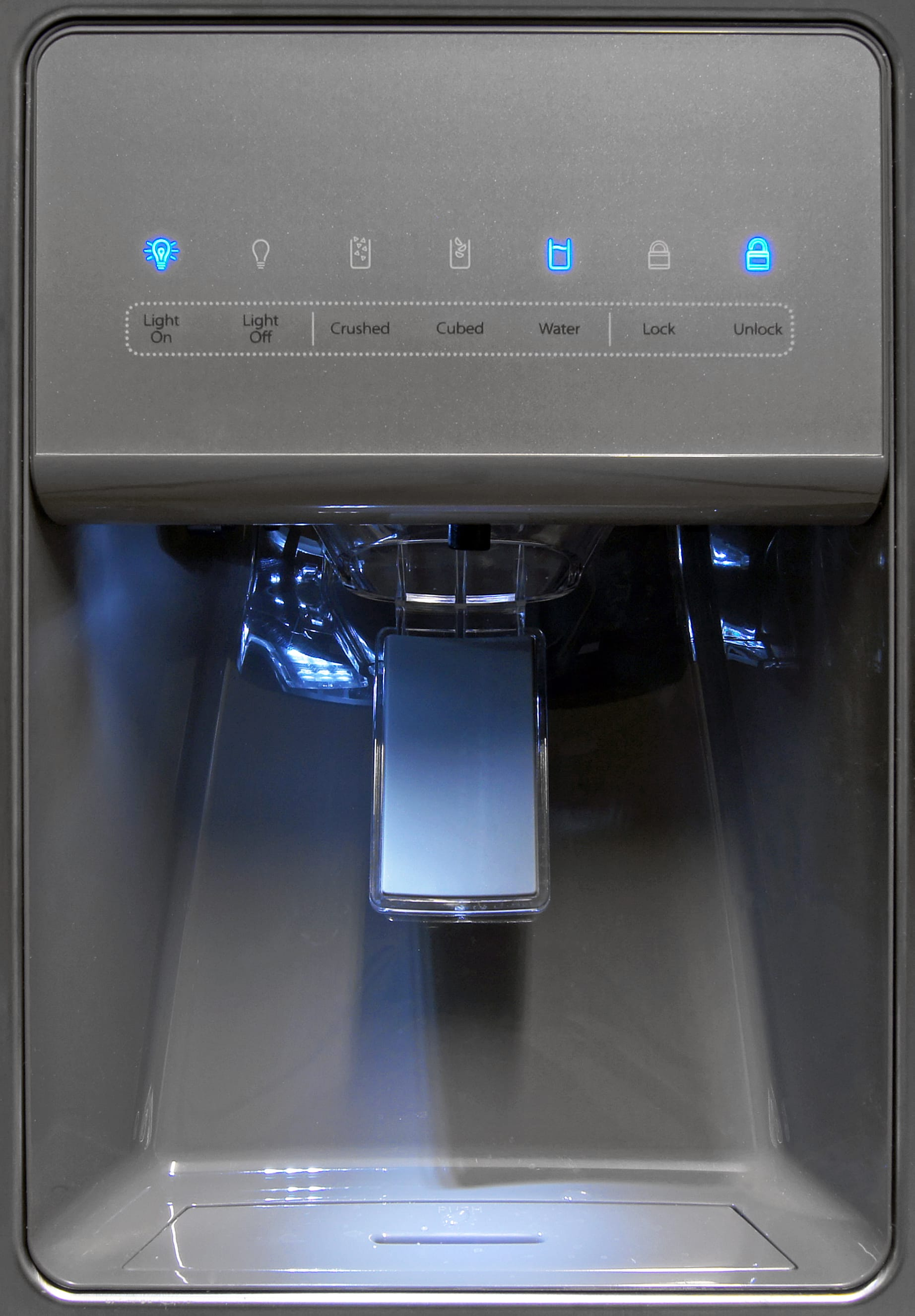 The Whirlpool WRS325FDAM's dispenser controls don't use an actual touch screen, just a plastic overlay on top of manual switches.