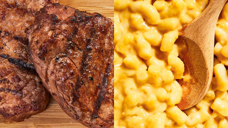 Left: a close-up of steak; right: a close up of a spoon stirring macaroni and cheese