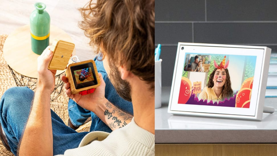Man holding an open Lovebox next to an image of a woman smiling in a Portal Mini