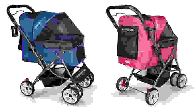 stroller in blue and bright pink on white background