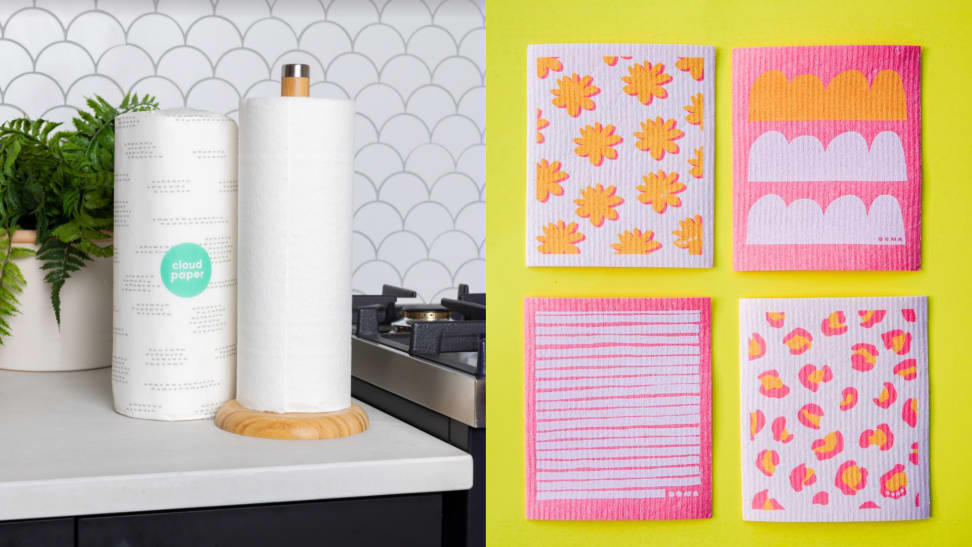 On left, roll of packaged and unpackaged Cloud Paper towel rolls on counter next to stove top and plant. On right, product shot of four multi-colored Oona sponge cloths.