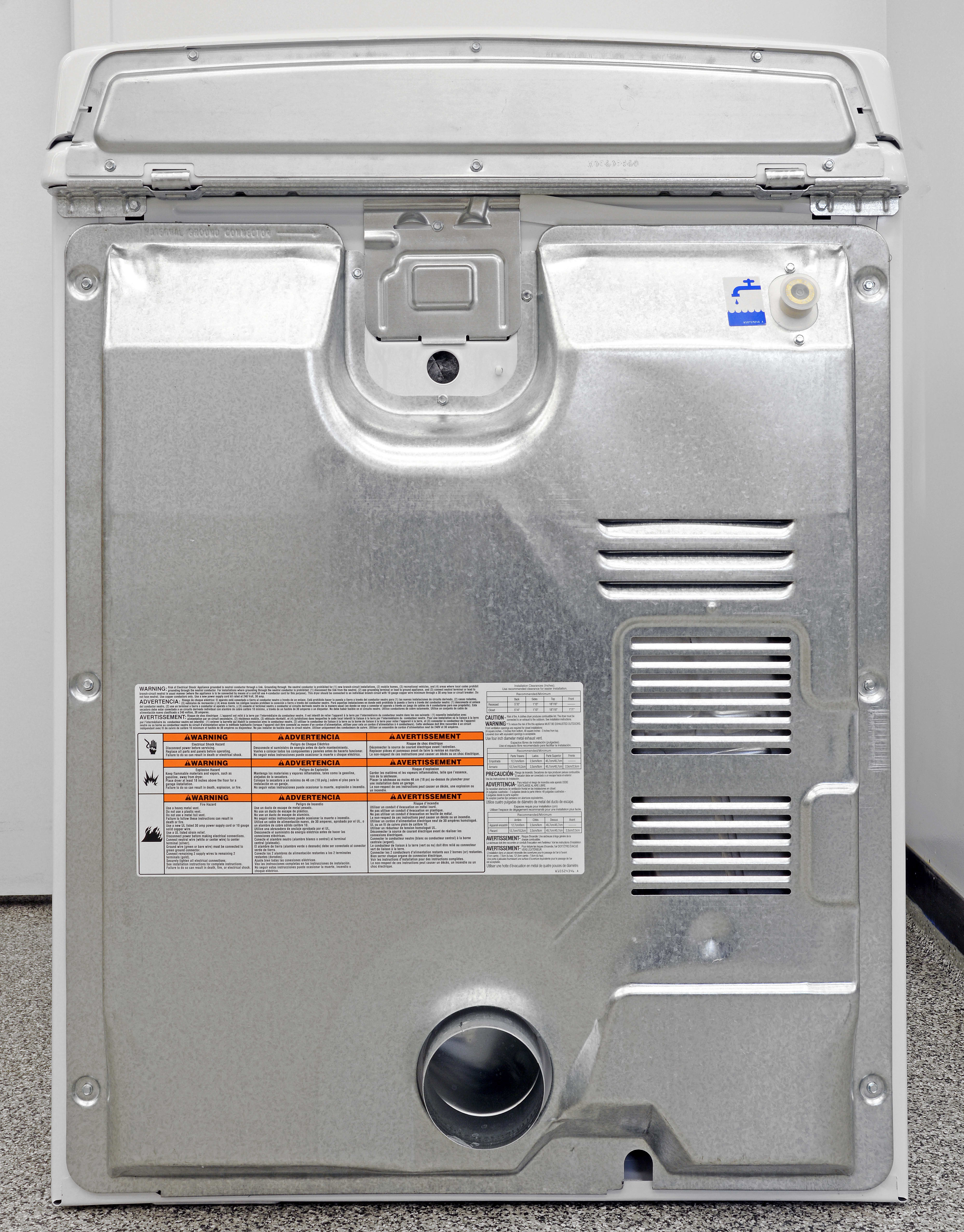 The Whirlpool Cabrio WED7300DW has a water hookup in back, allowing you to use steam-based cycles and features.