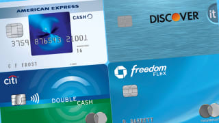 Best no-annual-fee credit cards: Chase Freedom Flex, Citi Double Cash Card, Discover it Secure, Amex EveryDay