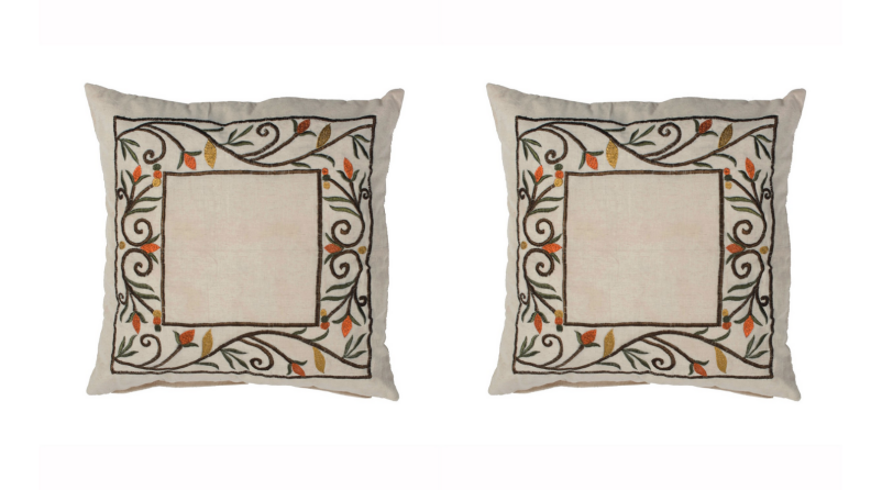 Two images of the same pillow embroidered with a pattern of ivy and leaves.