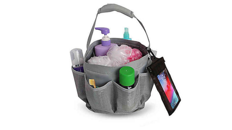 Photo of gray fabric shower caddy that is filled with products.