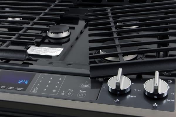 The grates can be removed in order to clean the area around the burners.