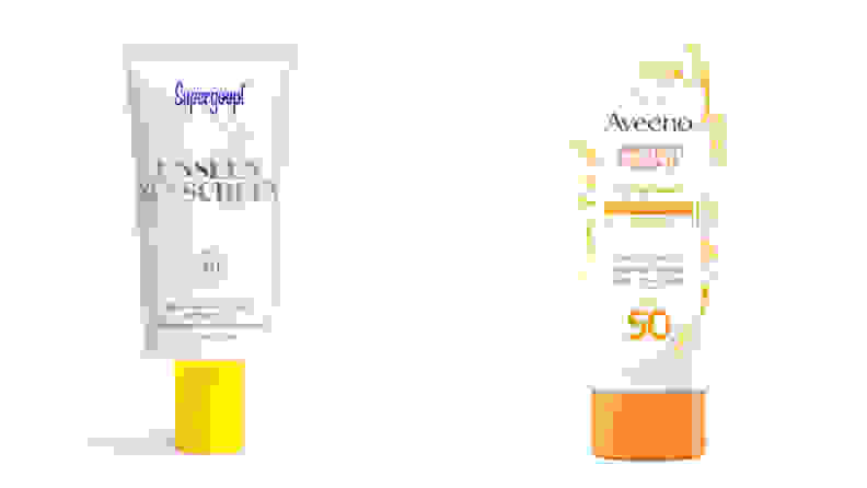 A photo of the Supergoop Unseen Sunscreen and the Aveeno Protect + Hydrate Sunscreen Lotion.
