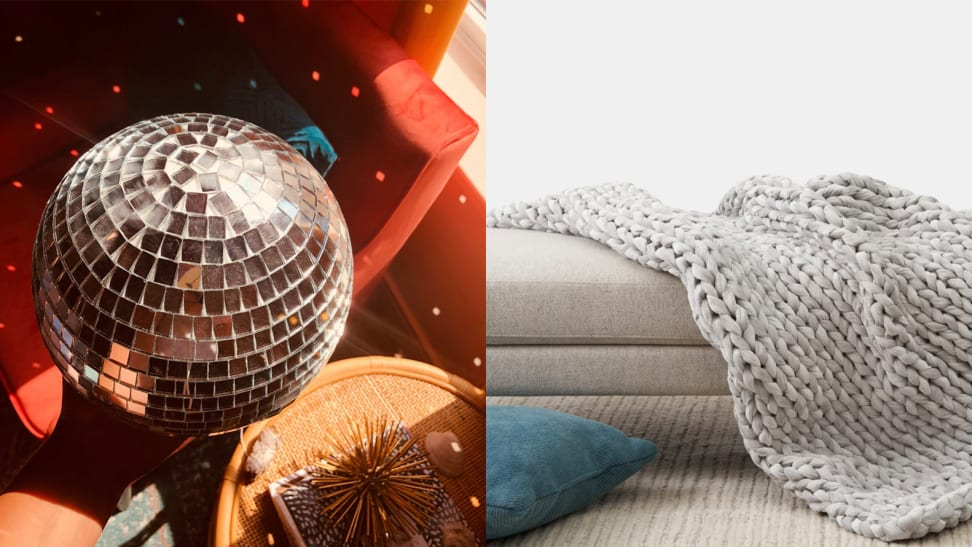 Left: Disco ball reflecting light. Right: Weighted blanked laying on couch.