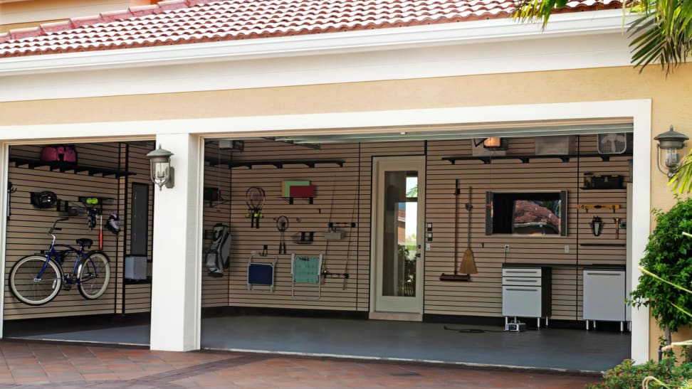 Clean and organized empty two door garage