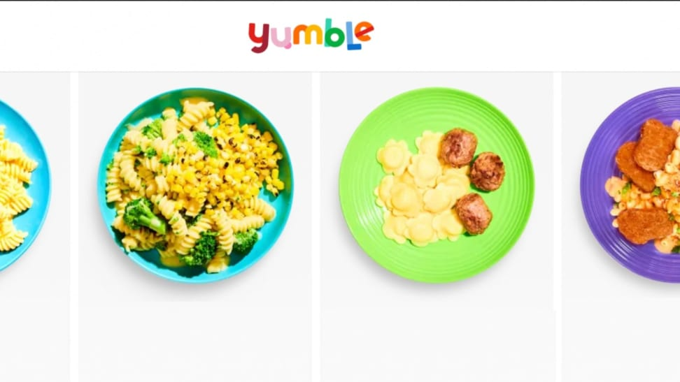 A lineup of meals from Yumble, on their landing page.