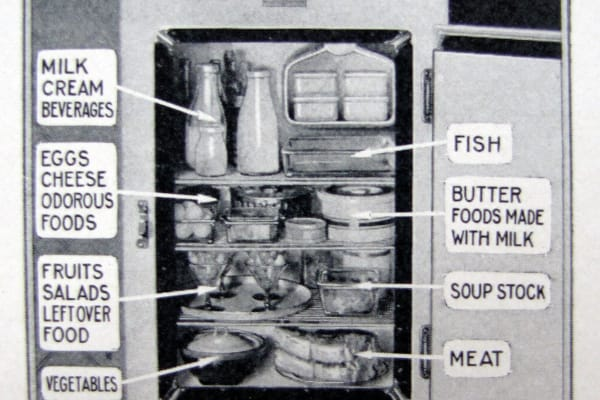 A diagram of where to store certain types of food in a GE Monitor Top fridge. The Silent Hostess, 1930.
