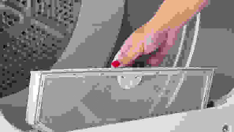 GE GTD33EASKWW front-loading dryer — lint