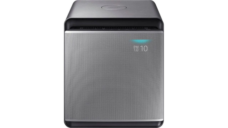 A samsung smart cube air purifier against a white background.
