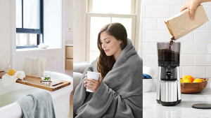 A woman snuggled under a blanket drinking a cup of coffee