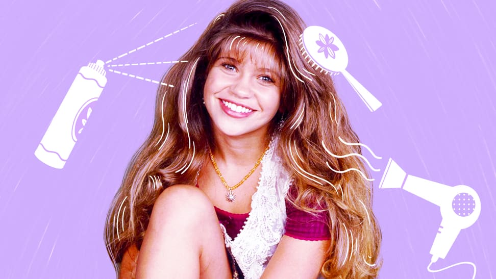 Danielle Fishel from Boy Meets World graphic on purple background