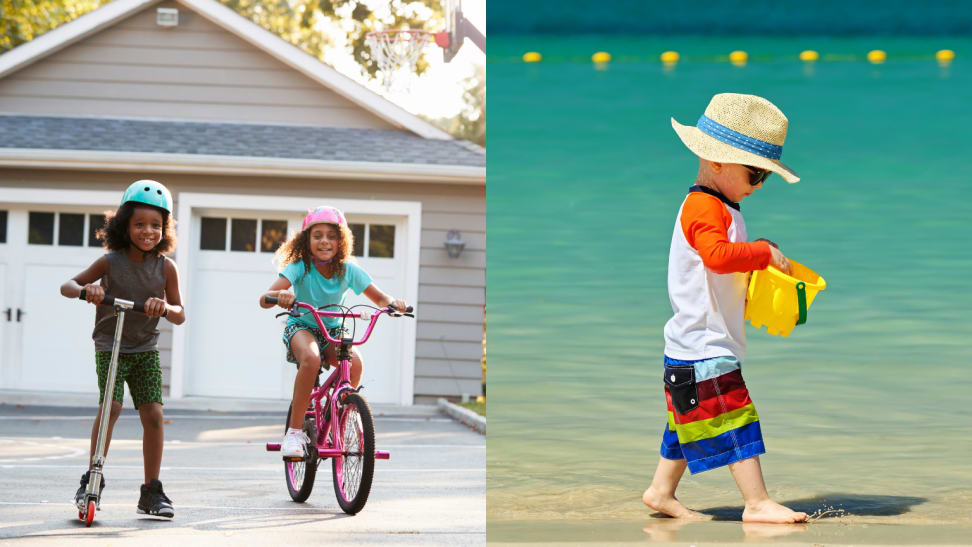 Toddler on the beach and two girls riding bikes