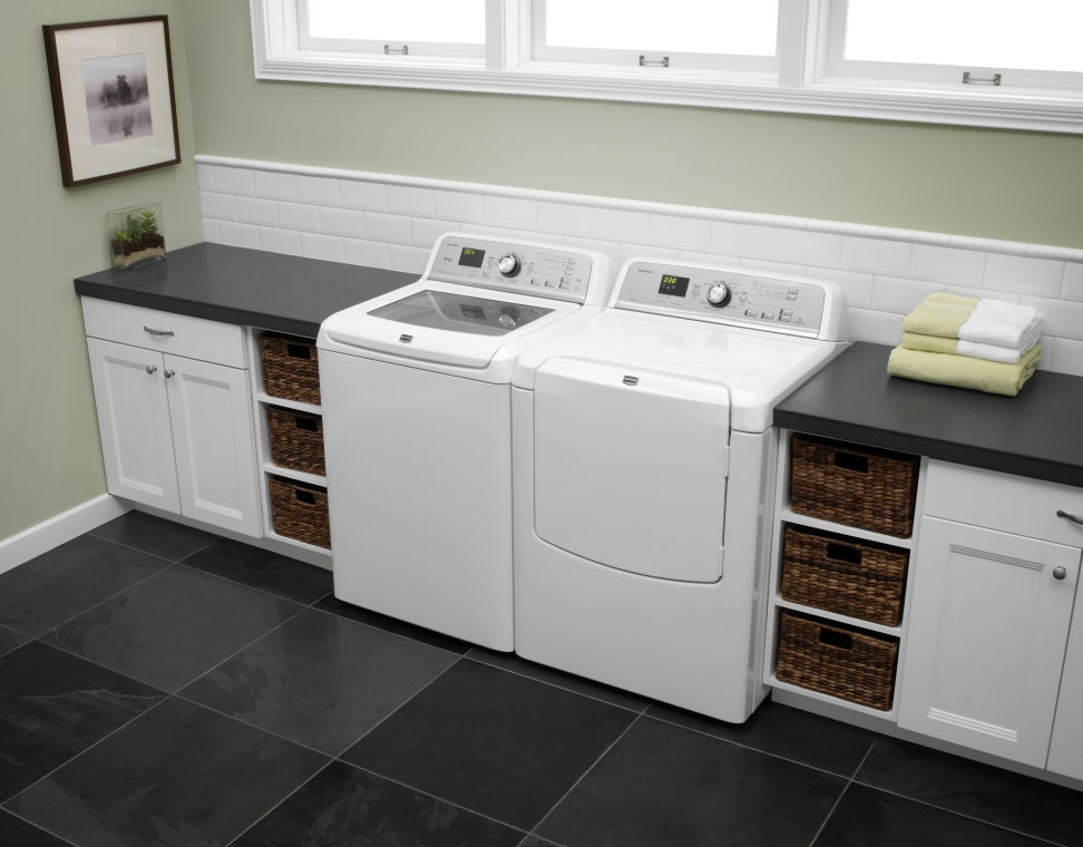 Maytag washer and dryer in a laundry room