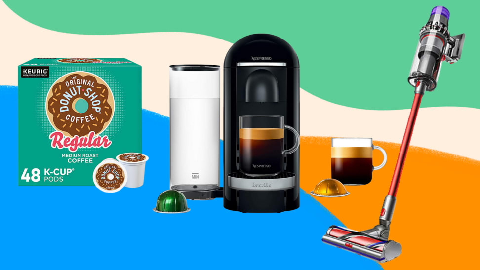 A box of Keurig coffee pods, a Nespresso coffee machine, and a Dyson vacuum on a multi-coloured background.