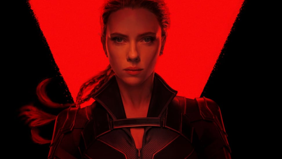An image of Scarlett Johansson against a background with a red hour glass