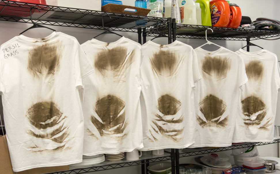 Grass and dirt stained T-shirts