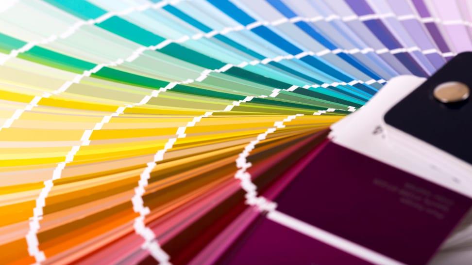A paint color fan deck
