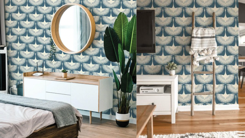 On the right, a vanity with a big circular mirror against a bird print wallpaper. On the right, the same wallpaper is featured in a room with a TV and console.