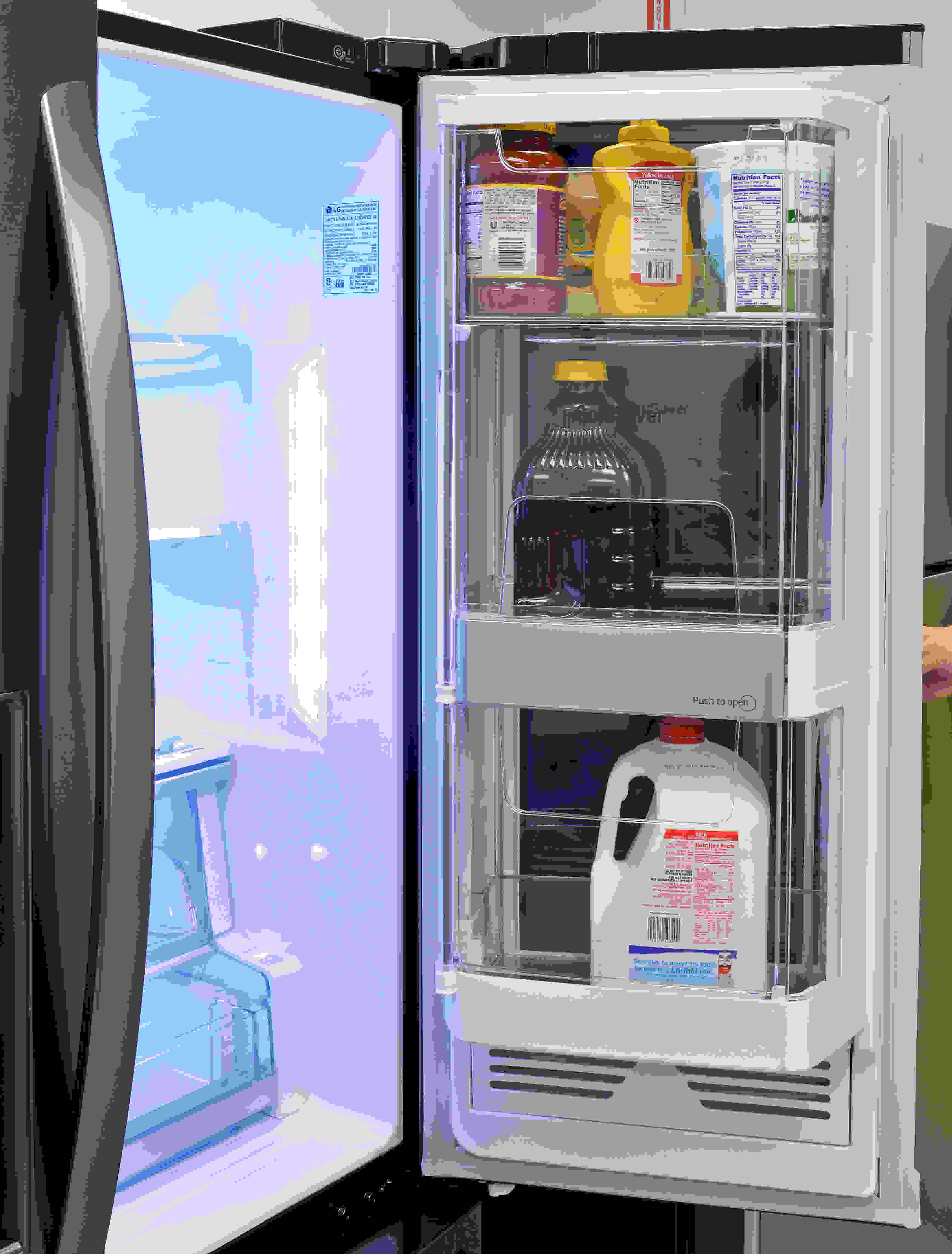 The door-in-door compartment is also separated by a panel on the inside of the fridge that you can pop open.