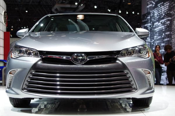 Look at that trapezoidal grill. It's now on the 2015 Toyota Camry, along with LED daytime running lights.