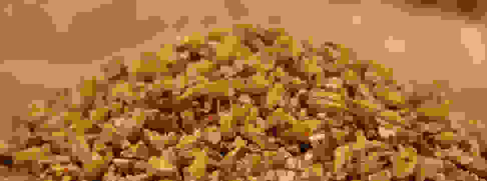A pile of milled malted barley.