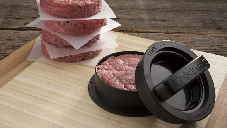 The Cuisinart burger press forms burger patties for a meal.