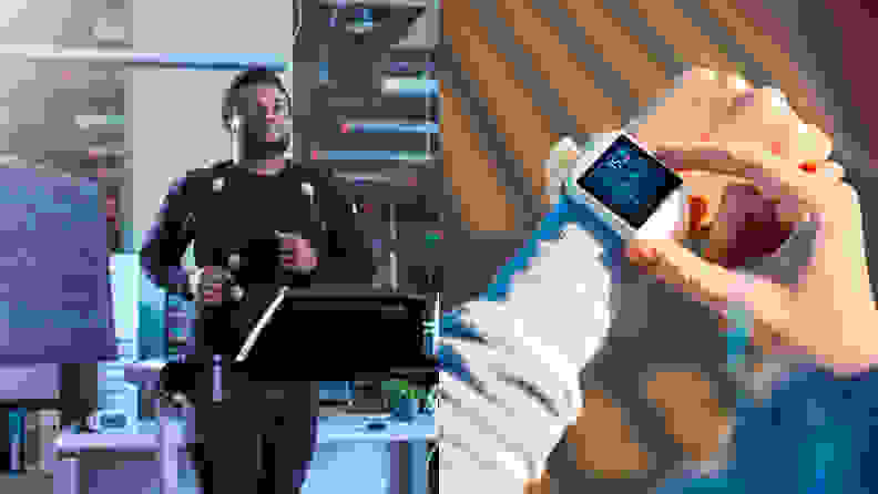 Left: A person hooked up to EKG sensors appears to be running on a treadmill. Right: A small wearable device (similar to a smart watch) measures a person's heartbeat.