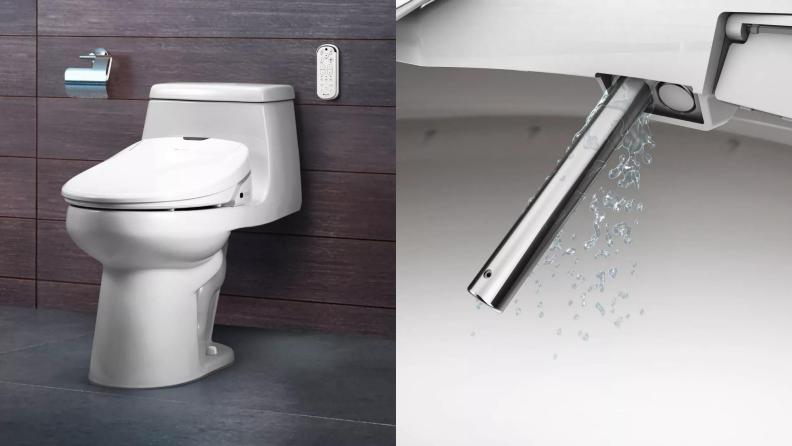 (1) A toilet sits in a bathroom. (2) closeup of a bidet wand.