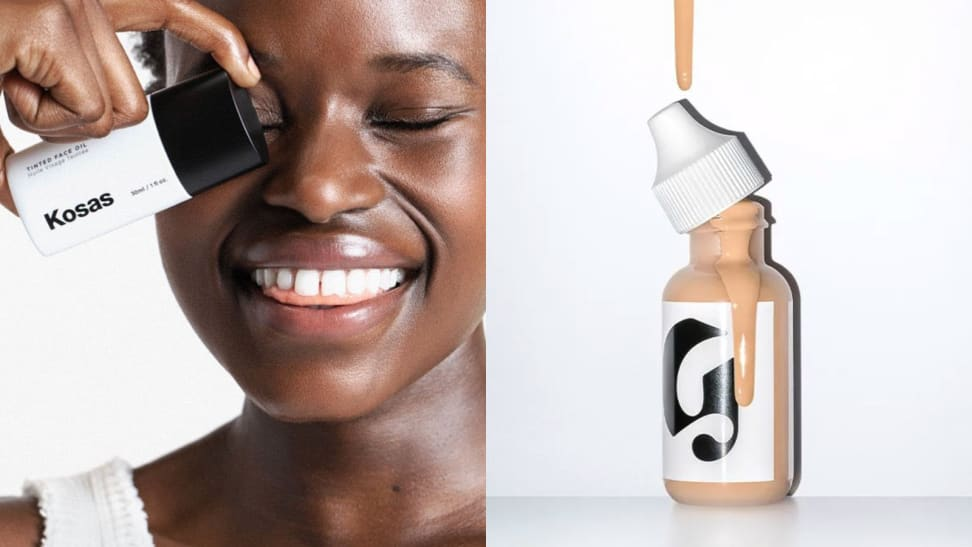 On the left: A model holds the Kosas Tinted Oil Foundation in front of her left eye and smiles. On the right: A bottle of the Glossier Skin Tint sits on a white background with a fair shade of the foundation dripping down the side of the Glossier logo. The cap is off.