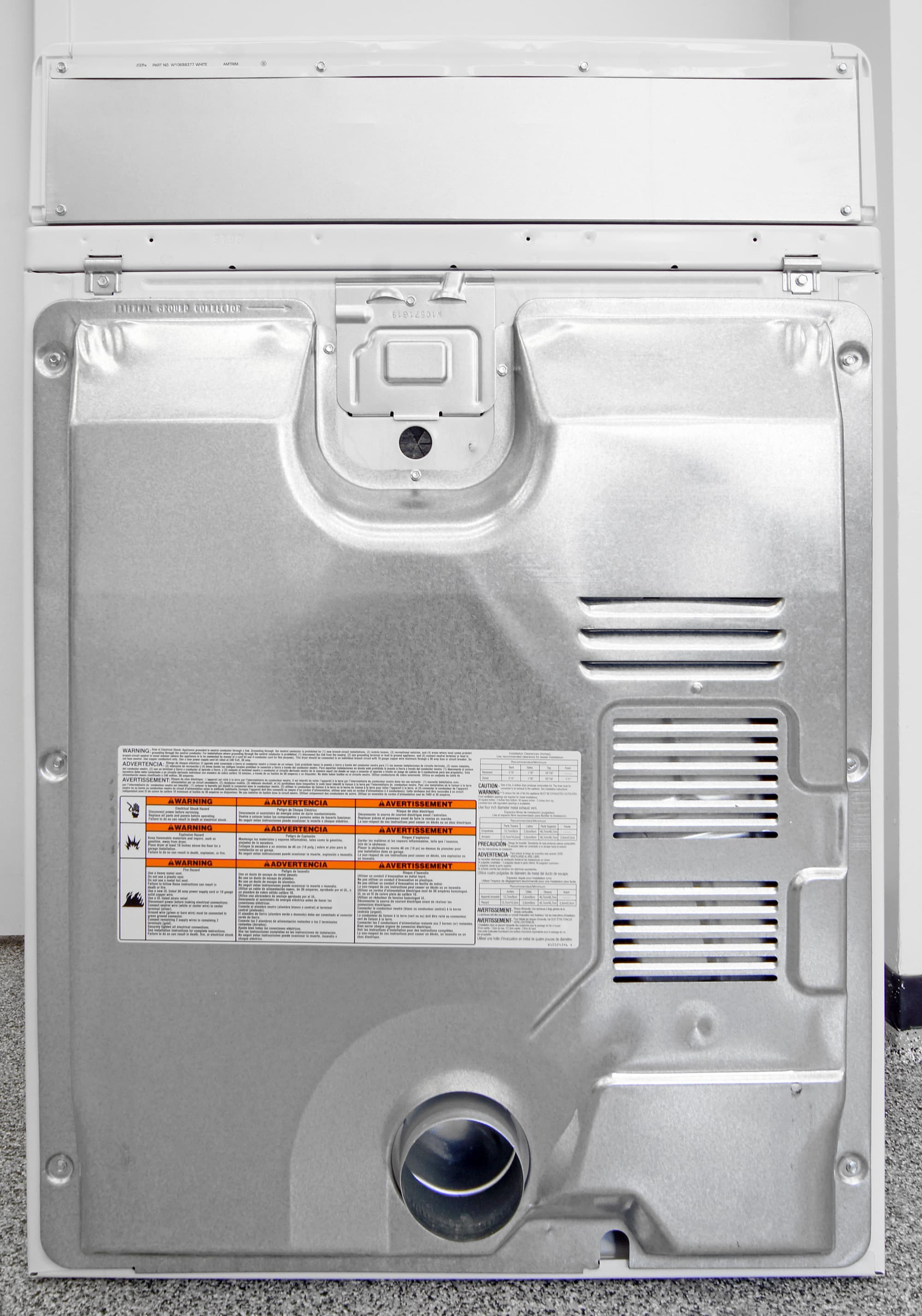 No steam means no water hookup in the back of the Maytag Centennial MEDC555DW.
