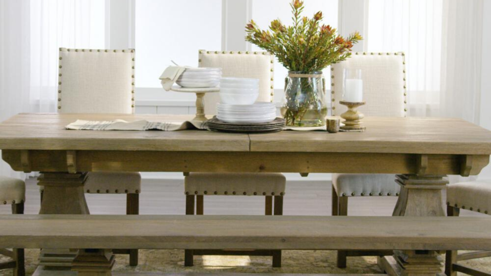 An Aldridge table and bench from Home Depot