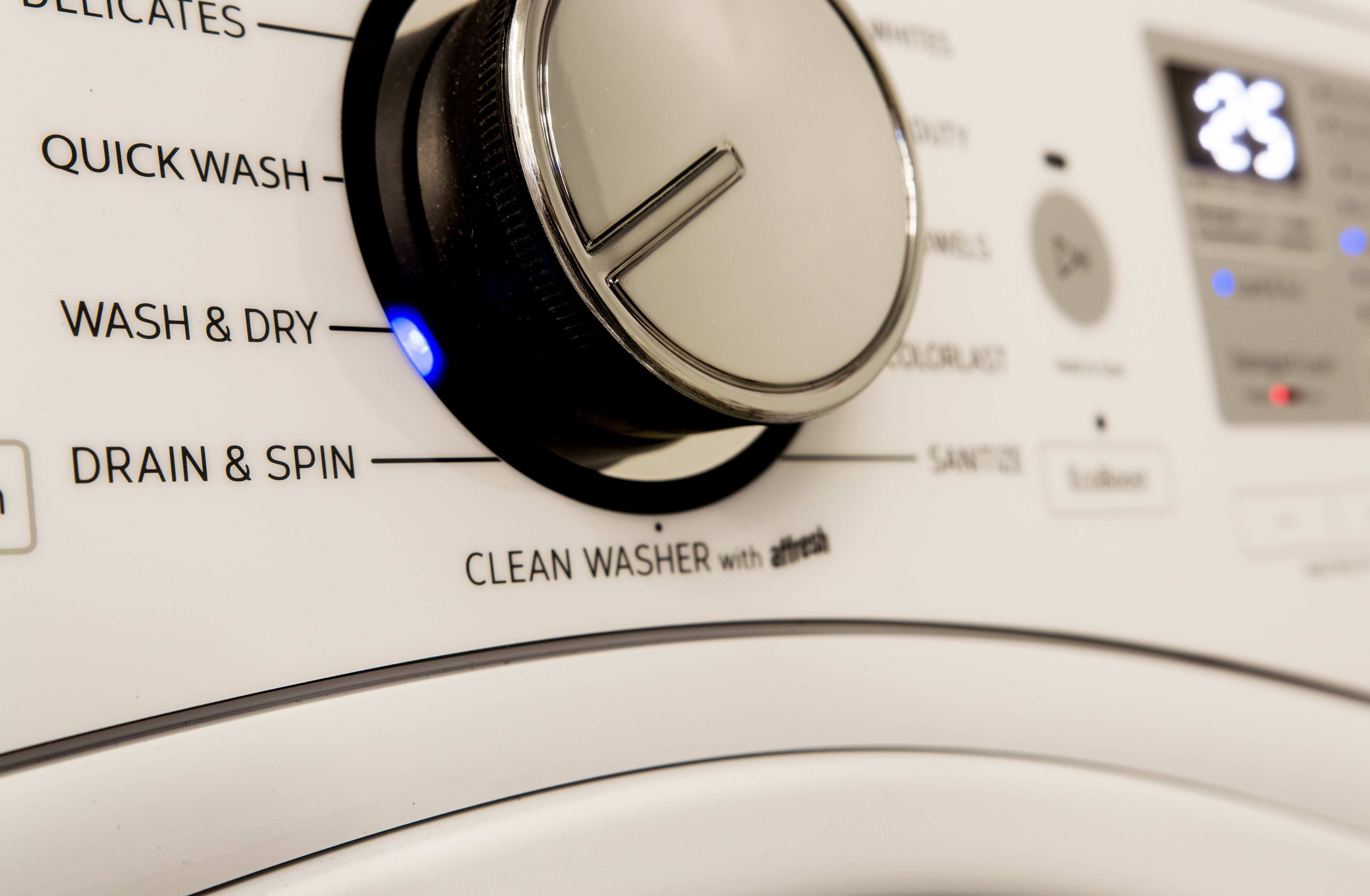 The Wash & Dry cycle allows you to wash and dry a small load of laundry overnight. This is a great time saver when you spill a little wine on a shirt.
