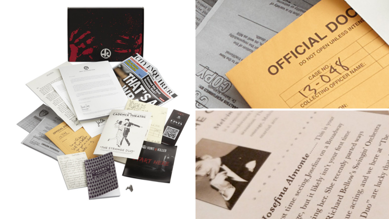 A murder-mystery party pack with clues and evidence.