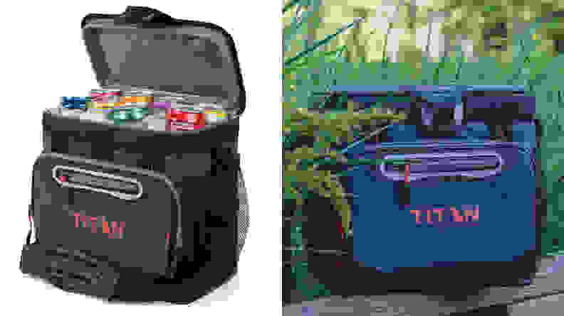 An Arctic Zone Titan Cooler on a white background, and then in the wilderness.