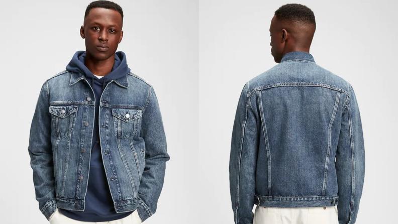 Man wearing faded indigo jean jacket from Gap.