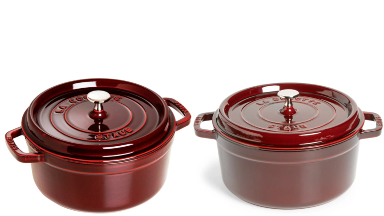 Two side by side product shots of red 5.5-Quart Round Enameled Cast Iron Cocotte from Staub.