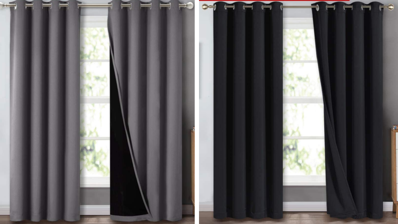 black and gray blackout curtains