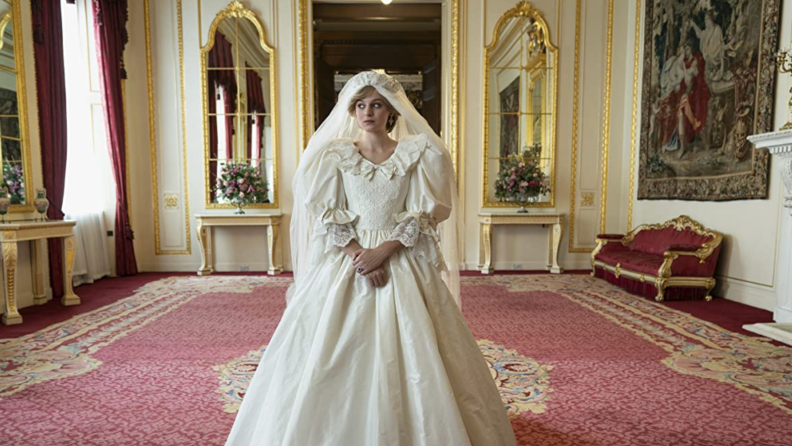 A still from the series The Crown featuring Emma Corrin as Princess Diana