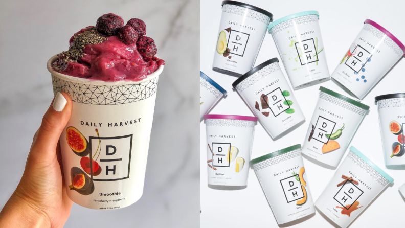 On the left, a person is holding a cup of Daily Harvest smoothie filled with frozen berries and figs; on the right, a handful of cups of Daily Harvest smoothies are on display.