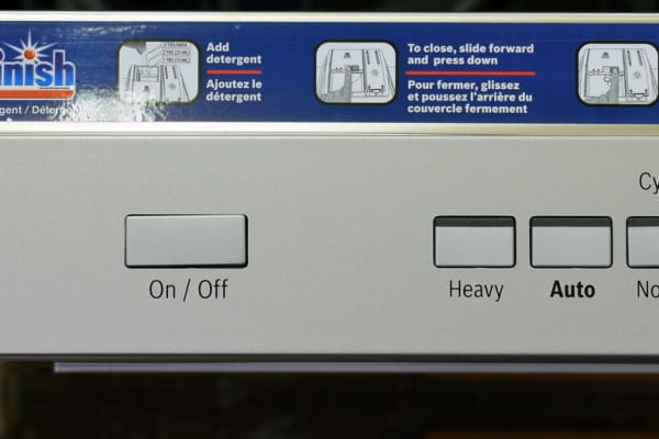 The left side of the Bosch SHP65TL5UC's control panel