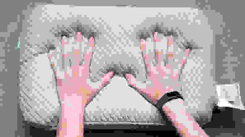Leesa pillow with hands