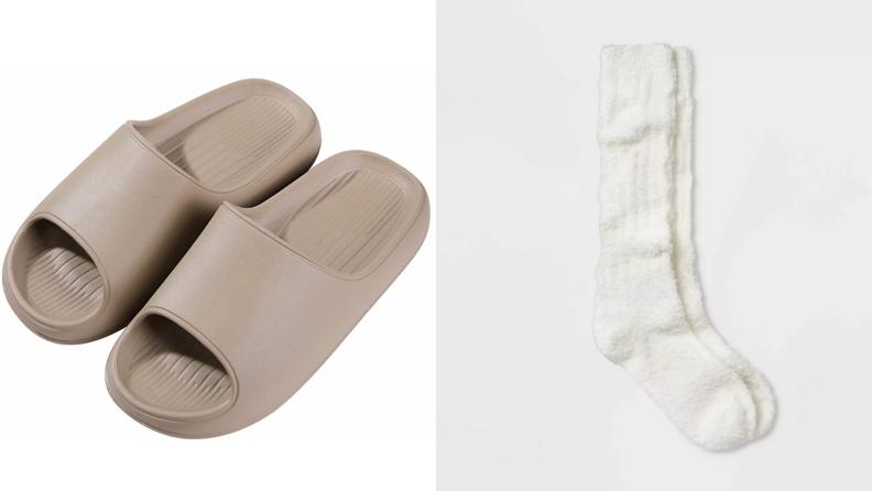 Grey Litfun pool slides, slouchy Universal Thread socks for women.