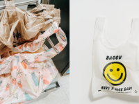 On left, multi-colored reusable grocery bags next to regular tan colored grocery bags in checkout area. On right, white reusable grocery bag with yellow smiley face and